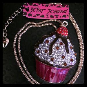 Betsey Johnson Chocolate Sundae Cupcake Necklace